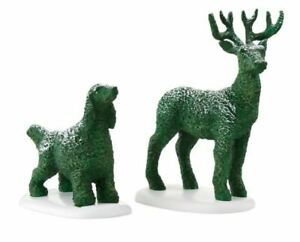 Department 56 Village Tudor Garden Dog and Deer Topiaries Accessory Figurine Set