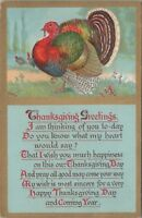 Vintage Thanksgiving Postcard Holiday Day Turkey Unposted