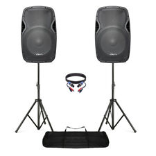 """Active Powered 15"""" Mobile DJ PA Disco Speaker Set with Stands & Cables 1600W"""