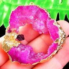 Wrap Peach Titanium Crystal Agate Druzy Quartz Geode Pendant Bead S00005