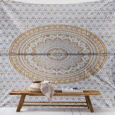 White Golden hippie mandala wall hanging Tapestry bedspread dorm decor throw