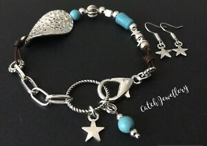 Brown real leather bracelet with Silver stars Turquoise And Star Earrings Boho