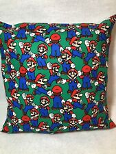 "Supermario 16"" Square Cushion Cover In Green/Red Cotton"