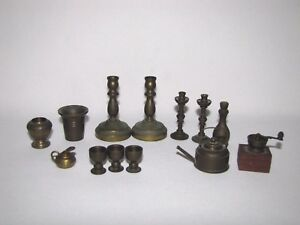 Lot of 13 Brass Dollhouse Miniatures Candle Sticks, Goblets, Teapot, Vase, More