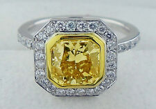 Fancy Yellow Diamond Ring with GIA 2.78 Carat Total Weight Platinum/18KYG