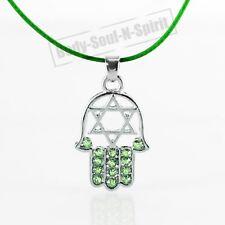 "HAMSA VERDE ""Estrella de David"" Cristales Collar tono VERDE Amuleto colgante"
