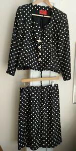 EMANUEL UNGARO - Paralléle Paris polka dot navy linen/silk skirt Suit SIZE uk 8