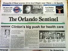 1994 newspaper PRESIDENT CLINTON & wife HILLARY push for NATIONAL HEALTH CARE