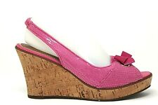 SPERRY TOP SIDER South Sea Womens Pink Sequin Cork Wedge Sandals Heels Sz 8.5 M