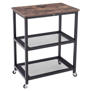Movable 3 Tier Storage Rack Bookcase Side Table Iron Mesh Food Shelf Plant Stand