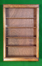 CABINET SHADOW BOX DISPLAY CASE  COLLECTIBLES SHELF WALNUT FINISH, USPS shipping