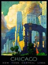 TRAVEL CHICAGO ILLINOIS USA CITYSCAPE SKYLINE CLOUD ART PRINT POSTERBB7478B