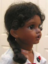 ZOBE Dark Brown DOLL WIG size 7 for ethnic dolls, long braid with curly tendrils