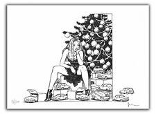 Affiche Milo MANARA Pin Up Le Sapin 200 ex signé 28,5x38 cm