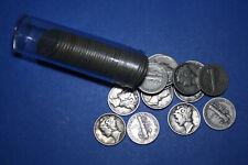 $5 Roll - 50 Coins - 90% Fine Silver Mercury Dimes, Circulated