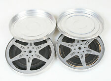 8MM FOUND FOOTAGE FILMS, SET OF 2, W/METAL CASES, 100+ FEET.