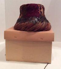 Vintage Gene Doris Pheasant Pill Box Hat With Box 1940's Pill Hat