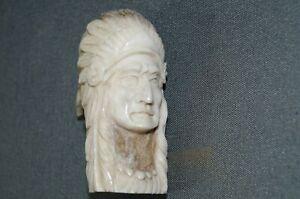 Aus Hirschhorn geschnitzter Indianer Häuptling Bein Schnitzerei Gehstock Griff