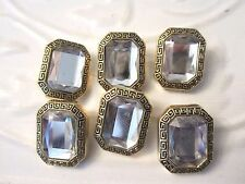 """1"""" JEWELED Button (6 pc) GOLD GRECIAN KEY EDGE - CLEAR"""