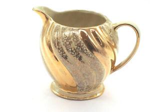 Sadler Vintage Gold and Cream Swirl Jug 1699 made in England 1950
