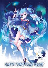 Anime Girl Hatsune Miku **Personalised Christmas Card** Any Name/Age A5 (A7)