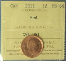 Canada 2011 Penny (Cent) - Graded by ICCS MS-66 (Red) - Non-Magnetic