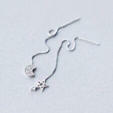 925 Sterling Silver CZ Moon Star Dangle Thread Long Line Threader Earrings A1496