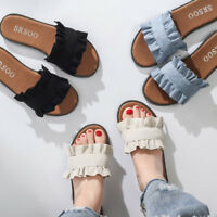 Women Flat Casual Peep Toe Slippers Summer Shoes Beach Slip On Sandals Fashion