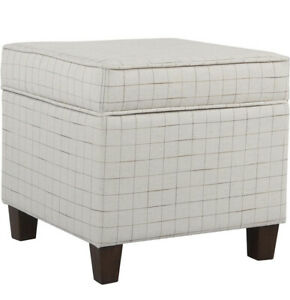 HomePop Square Storage Ottoman with Lift Off Lid, Natural Windowpane