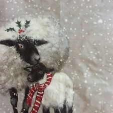 paper napkins decoupage x 2 Christmas sheep 21cm