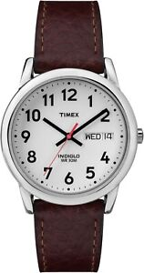 Timex Mens Day and Date Watch T20041, Leather strap, Indiglo Night Light & Date