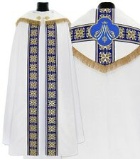 Marian White/blue Gothic Cope with stole K555-BN25fm Vestment Capa pluvial