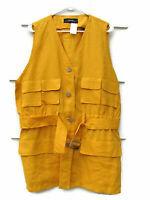Ellen Tracy  100% Linen Women's Yellow Belted Safari Jacket Vest Size 14