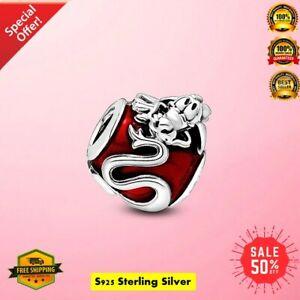 Authentic 925 Sterling Silver Disney Mulan Mushu Charm fit Eu Bracelet Handmade