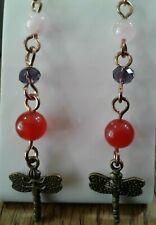 Red Stone Purple Crystal Long Earrings Gold Drop/Dangle
