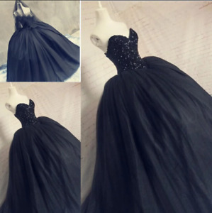 Black Wedding Dress Ball Gown Tulle Crystal Sequin Plus Size Bride Wedding Gown