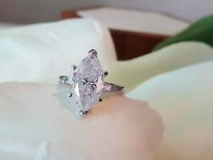 14K White Gold Plated Three Stone Engagement Ring 3 Ct Marquise Cut Moissanite