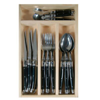 Laguiole 24 piece cutlery set Black by Jean Dubost