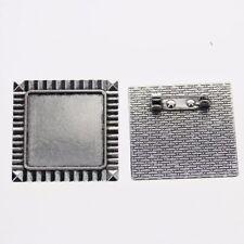 2pcs Tibetan silver color squared 25x25mm cabochon settings brooch design XA030