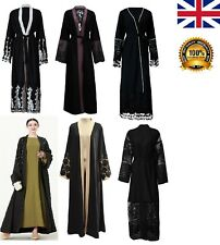 Ladies Black Dubai Style Abaya Long Gown Kaftan Jilbab Kimono Robe Maxi Dress UK