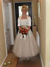 Justin Alexander Tulle Blush Tea-length Wedding Dress (Coffee/Ivory) UK Size 10