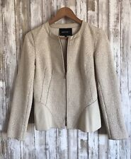 Lafayette 148 New York Women's Zip Blazer Wool Tweed Jacket Leather Trim 2 XS S