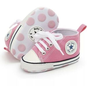 Converse Style Canvas Baby Shoes Pram Shoes Trainers Pink 0-6 Months