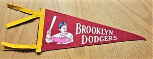 1950's BROOKLYN DODGERS VINTAGE PENNANT 12 inches long