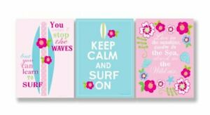 The Kids Room by Stupell Keep Calm and Surf On Pink and Teal 3-Pc. Inspiratio...