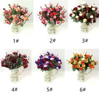 Artificial Fake Rose Bouquet Silk Flower Leaf Wedding Party Home Decor Durable