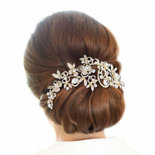 Bridesmaid Bridal Wedding Gold Tone Austrian Crystal Swiss Cut Diamond Hair Comb