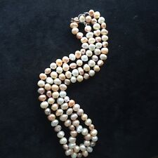 """NEW long 95cm/47"""" 9-10mm baroque Multi-color freshwater pearl necklace AA"""