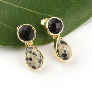 Dalmatian Jasper Black Onyx Yellow Gold Plated Fashionable Drop Stud Earrings