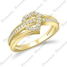 Heart Love Criss Cross Overlap Promise Ring Round Cut 0.20Ct Cz 14K Gold Finish